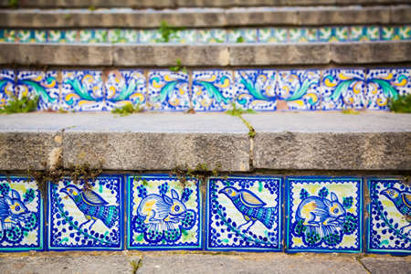 staircases: close-up ceramic tiles on the steps named Santa Maria del Monte at Caltagirone, Sicily Stock Photo