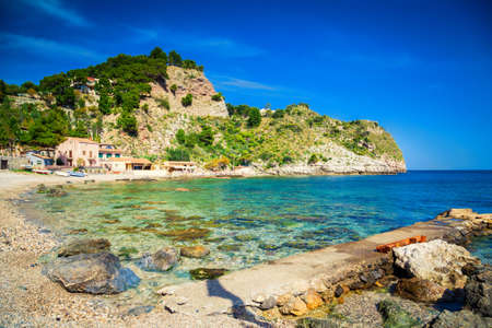 isola: famous beach Isola Bella at Sicily, Italy