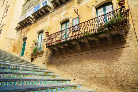 house with famous staircase named Santa Maria del Monte at Caltagirone, Sicily Stockfoto