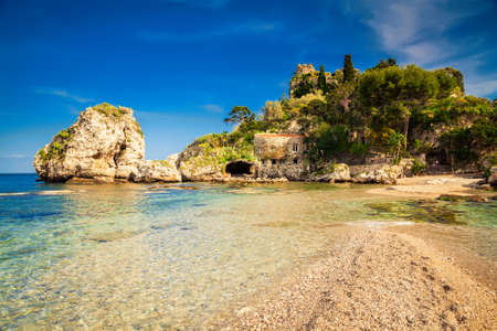 bella: small island Isola Bella at Taormina, Sicily Stock Photo