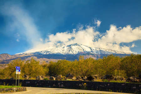 view of the large mountain Etna in spring, Sicily, Italy photo