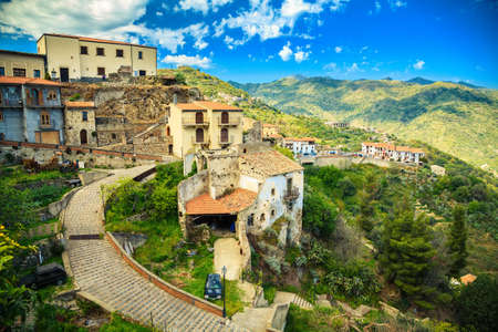 the godfather: beautiful view of the little town Savoca - the city of Godfather film, Sicily, Italy