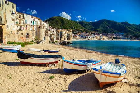 old wooden fishing boats on the beach of Cefalu Reklamní fotografie
