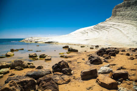 agrigento: rocks in front of Scala dei Turchi (Stair of the Turkish beach) near Agrigento, Sicily Stock Photo