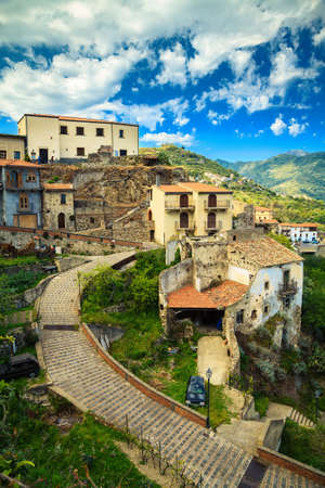 small town Savoca - the city of Godfather film, Sicily, Italy photo