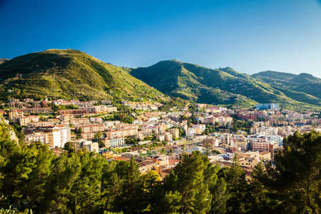 tenement: residential district with tenement houses in Cefalu, Sicily, Italy Stock Photo