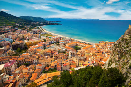 aerial view of town Cefalu from above, Sicily, Italy Stock Photo