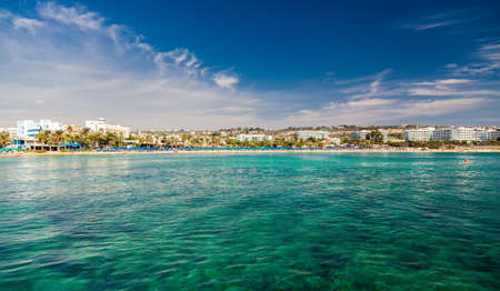 Ayia Napa town coastline with hotels and public beaches, Cyprus Stock Photo
