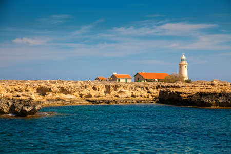 greco: old lighthouse in national park Cape Greco near Ayia Napa, Cyprus Stock Photo