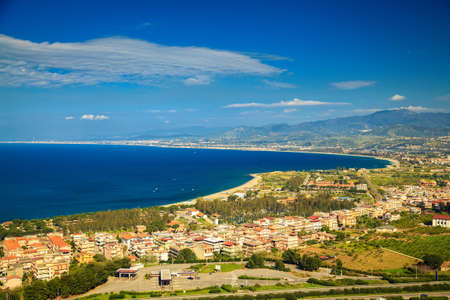 aerial view of a small town Oliveri near famous place Tindari, Sicily, Italy Banco de Imagens