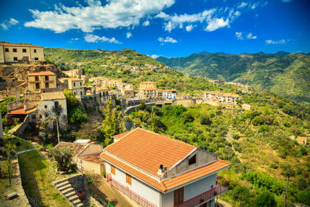the godfather: aerial view of the small town Savoca where the Godfather movie was filmed, Sicily, Italy Stock Photo
