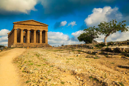 valley of the temples: very well-preserved Greek ruins of Concordia Temple in the Valley of Temples near Agrigento, Sicily Stock Photo