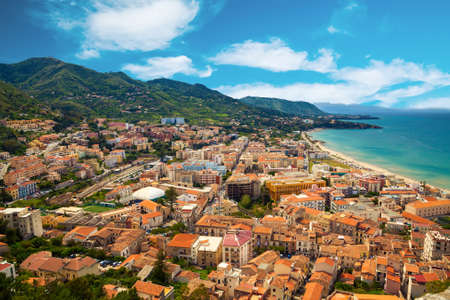 aerial view of Cefalu residential district near the sea, Sicily, Italy