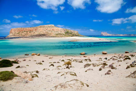 desert island: beautiful view of Balos lagoon and Gramvousa island in Crete, Greece