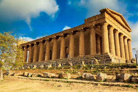 valley of the temples: famous ruins of Concordia Temple in the Valley of Temples near Agrigento, Sicily, Italy