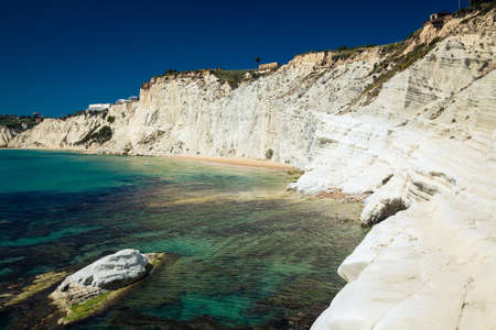 agrigento: white cliffs naturally made of smooth pug at Scala dei Turchi near Agrigento, Sicily, Italy