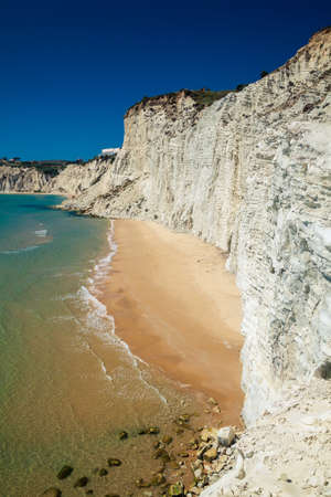 scala: remote beach at Scala dei Turchi near Agrigento, Sicily. It is difficult to get to it