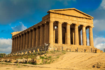 very old Greek ruins of Concordia Temple in the Valley of Temples near Agrigento, Sicily Stock Photo
