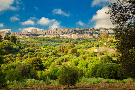 agrigento: residential houses of Agrigento city seen from the Valley of Temples, Sicily