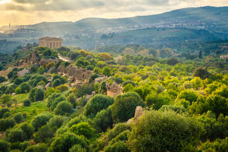valley of the temples: aerial view of the Valley of Temples near Agrigento, Sicily