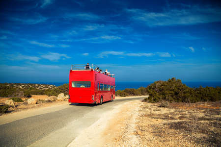 wedding special traditional red bus in Cyprus, it is used for tourists who come to the island for marriage