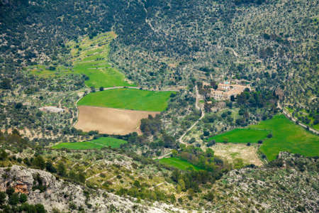 highland region: aerial view of unrecognizable farm in highland region of Majorca, Spain