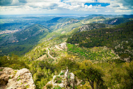 highland region: aerial view of a highland region near small village Alaro, Majorca, Spain