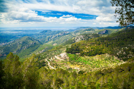 highland region: landscape of a highland region near small village Alaro, Majorca, Spain