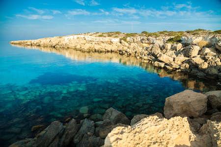 greco: the rocky coastline at the natural park Cape Greco, Cyprus