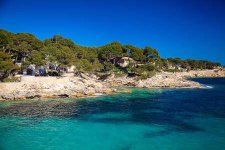 gat: rocky coast near Cala Gat beach, Majorca, Spain