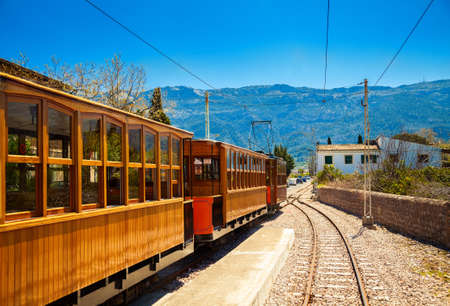 famous vintage old train in Soller, Mallorca, Spain