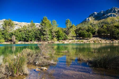 blau: the scenic beautiful mountain lake Panta de Gorg Blau, Mallorca, Spain Stock Photo