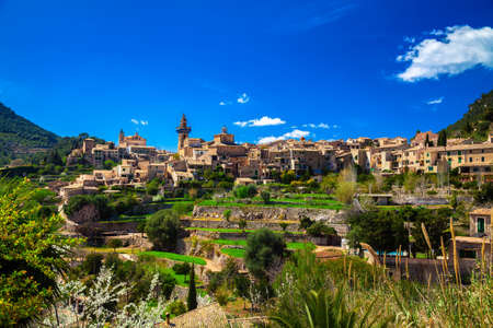 the small town Valldemossa on the hill in the mountains of Mallorca, Spain