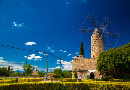 traditional windmill: landscape with traditional windmill in Mallorca, Spain