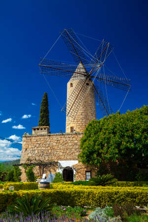 traditional windmill in the west part of Mallorca, Spain