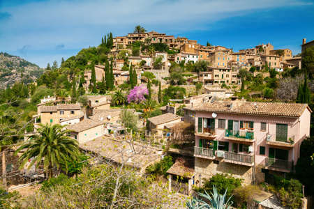 mediterranian houses: beautiful hilltop village Deia in Mallorca, Spain