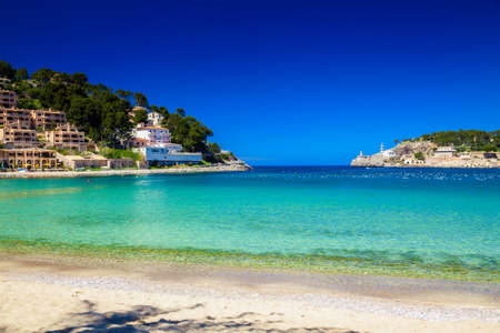 azure: beautiful beach and azure sea in Port de Soller, Mallorca, Spain Stock Photo