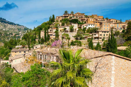 mediterranian houses: beautiful village Deia on the hill, Mallorca, Spain Stock Photo