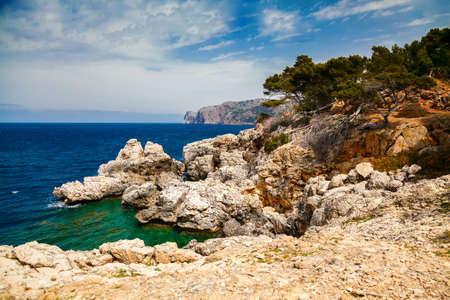 rocky coastline: rocky coastline of Mallorca, Spain Stock Photo