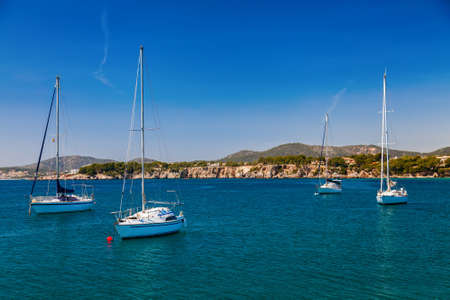 portals: small yachts in the bay of Portals Nous, Mallorca, Spain