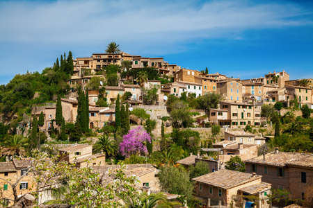 mediterranian houses: cozy small beautiful village Deia on the hill, Mallorca, Spain