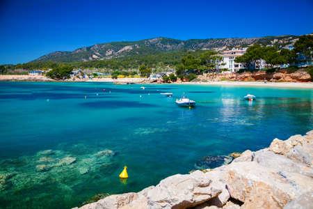 portals: small harbor with boats in Portals Nous, Mallorca, Spain Stock Photo