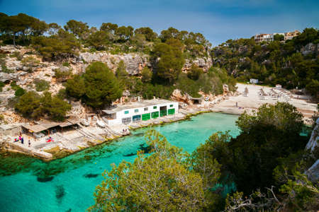 aerial view of the beautiful bay of Mallorca - Cala Pi beach Stock Photo
