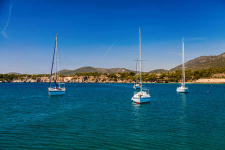 portals: small yachts in the harbor of Portals Nous, Mallorca, Spain Stock Photo