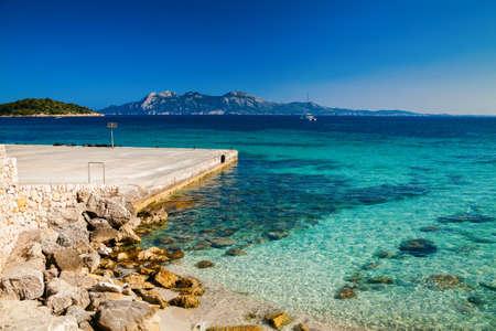 pi: stone pier near the Cala Pi de La Posada beach at the cape Formentor, Mallorca, Spain