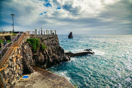lido: small city beach near bath complex Lido in Funchal, Madeira