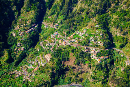 nuns: aerial view of a road and small houses in the Nuns Valley, Madeira island, Portugal Stock Photo