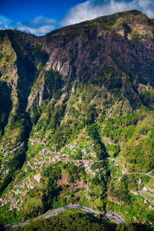 nuns: winding roads and small houses in the Nuns Valley, Madeira island, Portugal Stock Photo