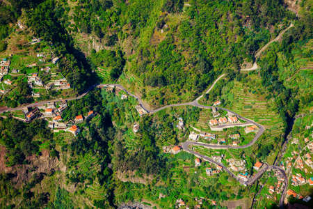 nuns: aerial view of small houses in the Nuns Valley, Madeira island, Portugal Stock Photo