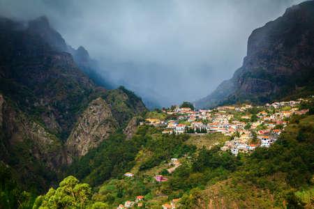 nuns: small mountain village Curral das Freiras in Nuns Valley, Madeira island, Portugal Stock Photo